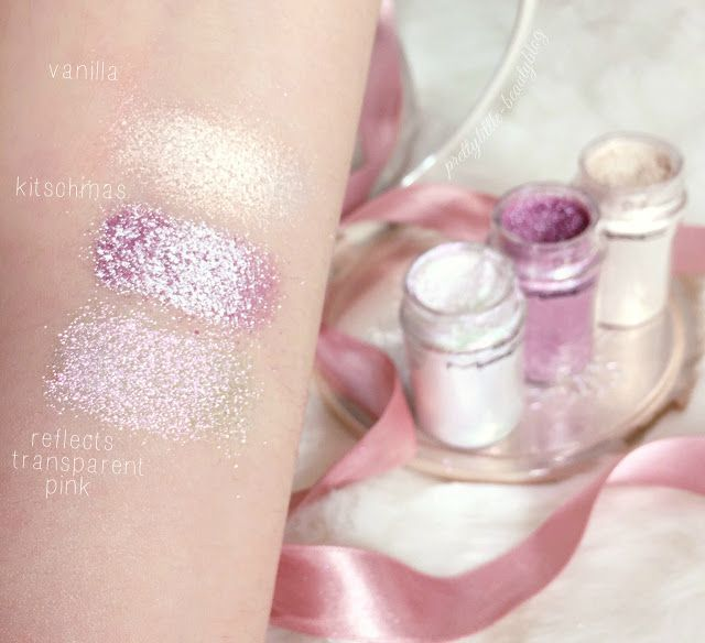 MAC Pigments Swatches | Kitchmas, Vanilla & Reflects Transparent Pink Glitter lovecatherine.co.uk Instagram catherine.mw xo