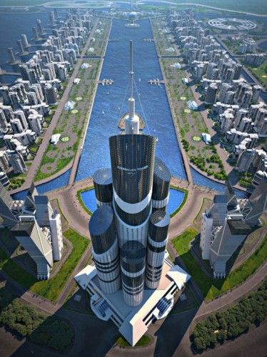 """Azerbaijan Tower Proposal / Avesta Group    """"© Avesta Group With plans to become the world's tallest building at about 3645 feet, the Azerbaijan Tower is being built on a series of artificial"""""""