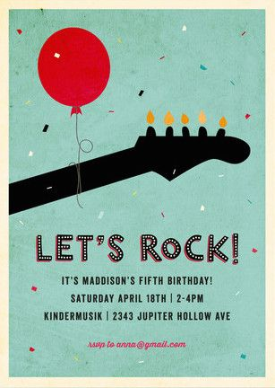 Rock On Children's Birthday Party Invitations, Music Party Theme