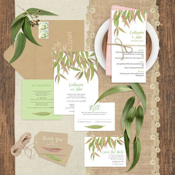 gum leaf printable wedding invitation suite by idoityourself