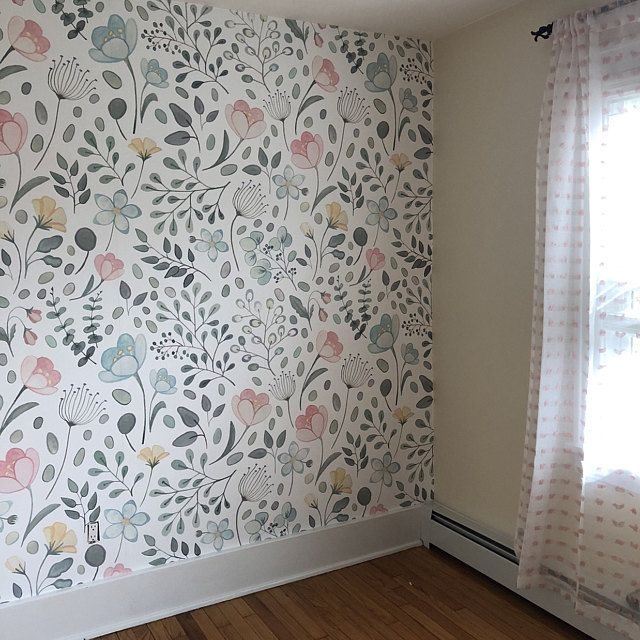 Posie Watercolor Floral Mural Traditional Or Removable Etsy Removable Wallpaper Floral Watercolor Mural Wallpaper