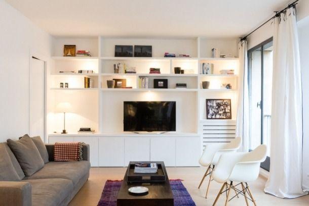 Biblioteca De Piso A Techo Con Cajones Abajo Muebles Para Tv Muebles Salon Television Decoracion De Departamentos Pequenos