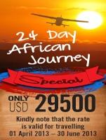 24 Day African Journey (Tanzania, Mozambique, Zambia, Botswana, Zimbabwe, Malawi) Guided Fly in Safari