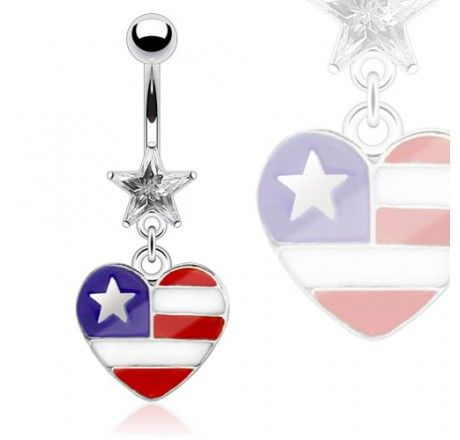 #surgical #steel #usa #america #heart #hanging #belly #navel #ring #bodykraze
