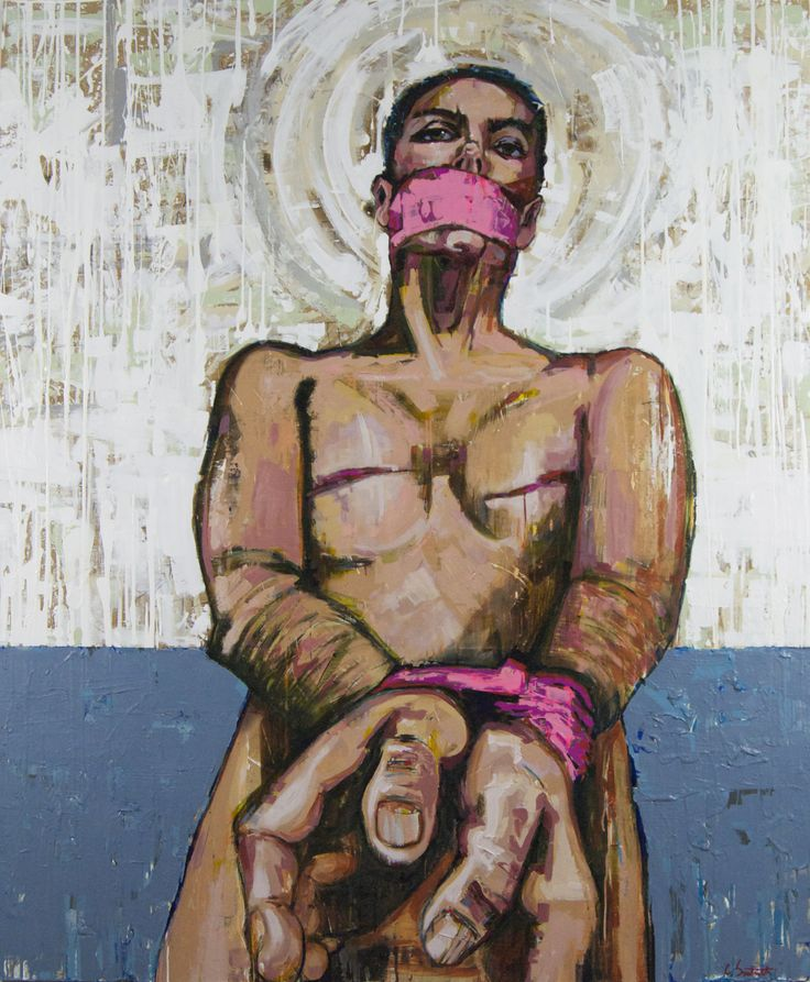 """Strapped (by Awareness)"" by artist Chip Southworth from the series Real Awareness: Paintings on Breast Cancer 60 x 72"" Mixed Media on wood panel"