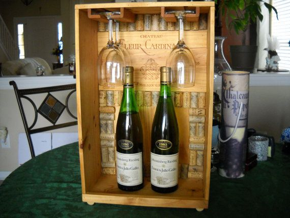 203 best unique wooden wine crate and box projects images for Glass bottle display ideas