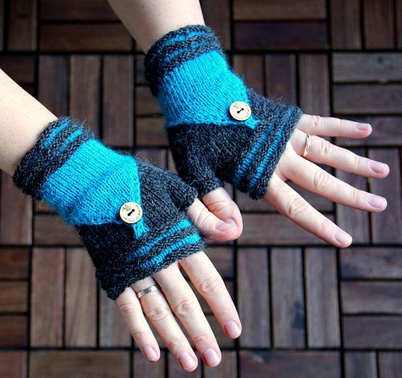 Fingerless Mittens Double Luxury handknitted from