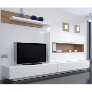 meuble tv mural saint barth une exclu atylia matire mlamine couleur blancnoyer - Meuble Tv Ultra Design