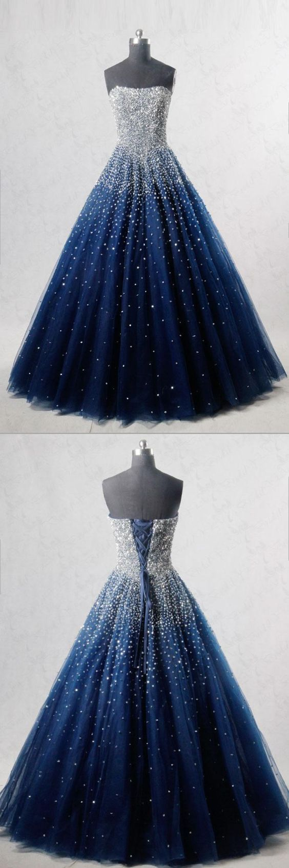 BLUE SWEETHEART SEQUIN TULLE LANGES PROM-KLEID, BLAUES ABENDKLEID von Hot Lady