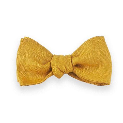 Noeud papillon lin jaune moutarde