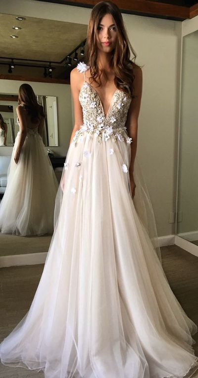 Great Deep V-neck Prom Dress,Spaghetti Straps Prom Dress,A-line Prom Dresses,2017 Form…