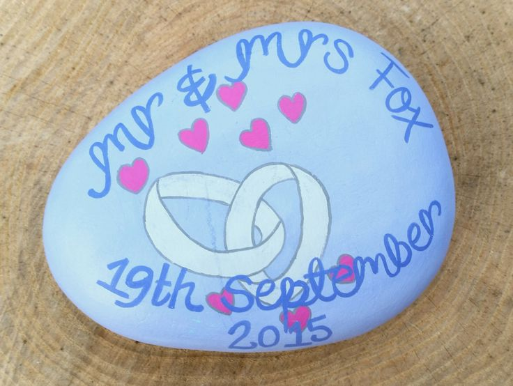 Hand Painted, Wedding Pebbles, Wedding Gifts, Table Centrepieces, Presents for Brides, Groom Gifts, Wedding Mementos, Wedding Presents, by TheLadySketch on Etsy