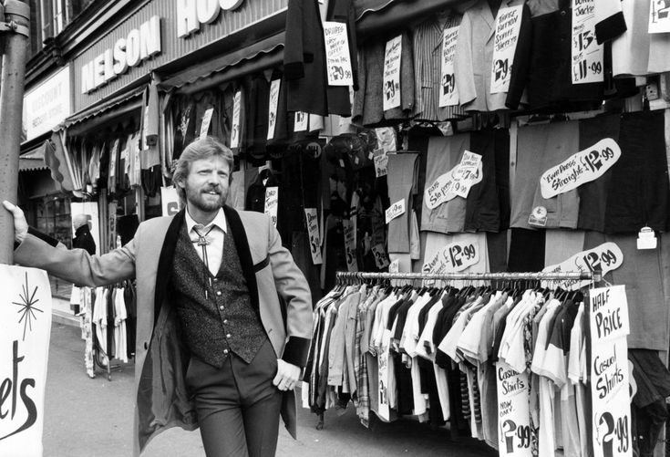 Dave Griffin display manager of Nelson House, a mens clothing shop in Dale End, Birmingham.