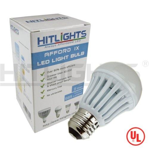 HitLIghts A19 Warm White (2700K) AffordIX 9W LED Light Bulb, Equivalent to 60W Incandescent (665 Lumen), UL Listed at http://suliaszone.com/hitlights-a19-warm-white-2700k-affordix-9w-led-light-bulb-equivalent-to-60w-incandescent-665-lumen-ul-listed/