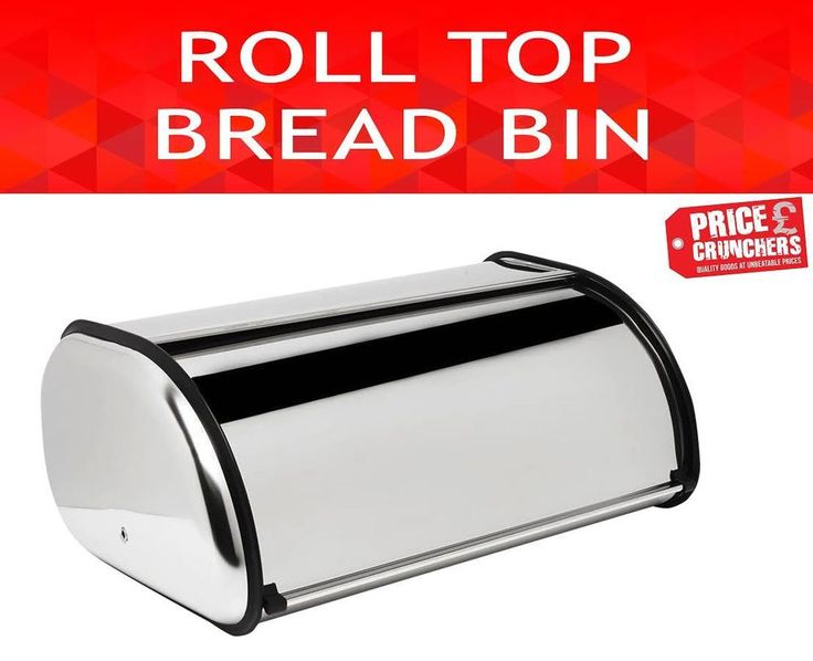Bread Bin Steel Kitchen Food Storage Loaf Box Small Container Roll Over Top #HIGHLANDS #Contemporary