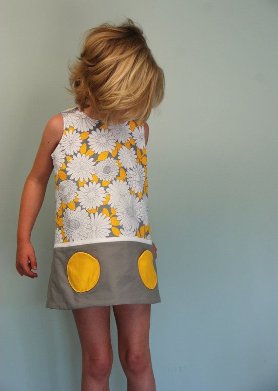 Daisy print yellow gray dress  sizes by SchoolHouseFrock on Etsy, $48.00