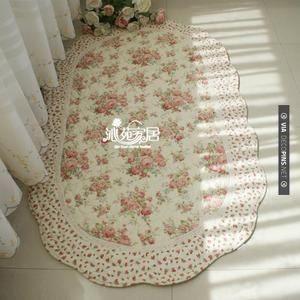 Shabby Country Chic Rose Door Bedside Mat Floor Runner Throw Rug