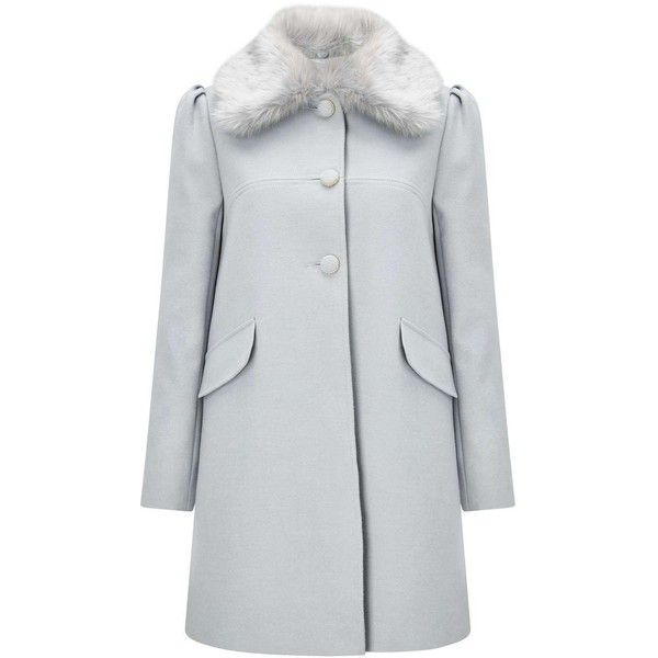 Miss Selfridge Grey Faux Fur Trim Collar Dolly Coat ($125) ❤ liked on Polyvore featuring outerwear, coats, grey, grey coat, miss selfridge coats, miss selfridge, button coat and collar coat