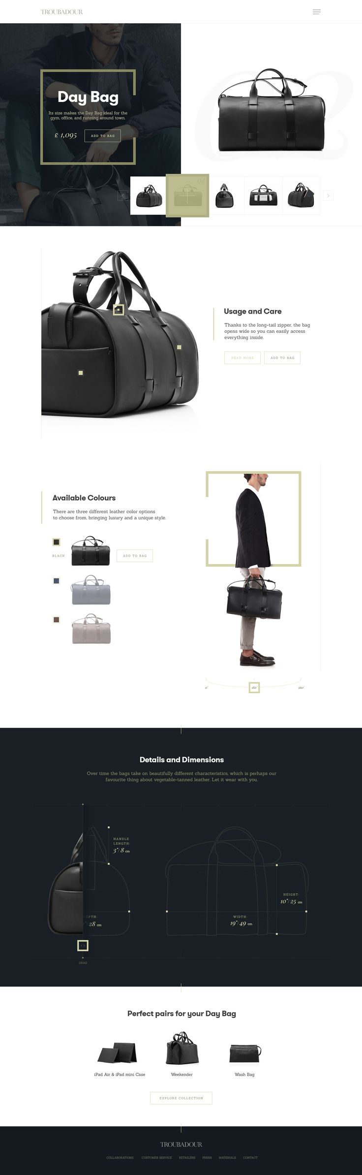 Troubadour Goods - product page by Kreativa Studio