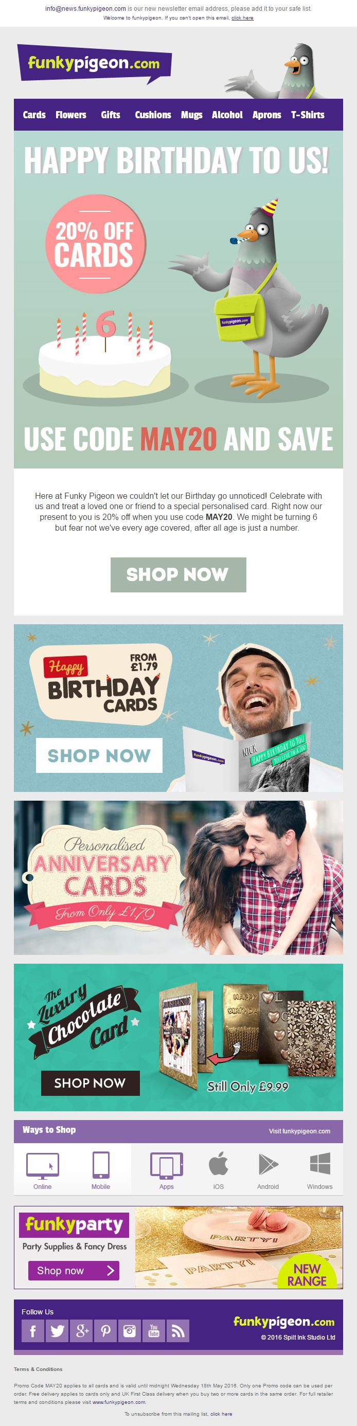 33 best competition emails images on pinterest email marketing funky pigeon email celebrating their birthday with a 20 off cards discount code emailmarketing fandeluxe Gallery