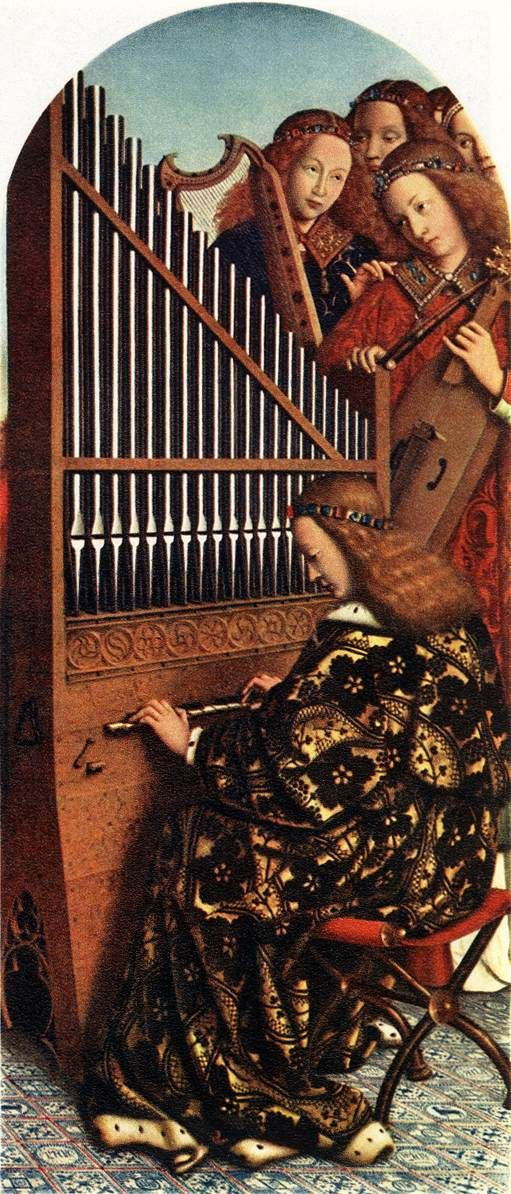 1380–1441 Jan Van Eyck, The Ghent Altarpiece: Angels Playing Music, 1426-27, Oil on wood, Cathedral of St Bavo, Ghent