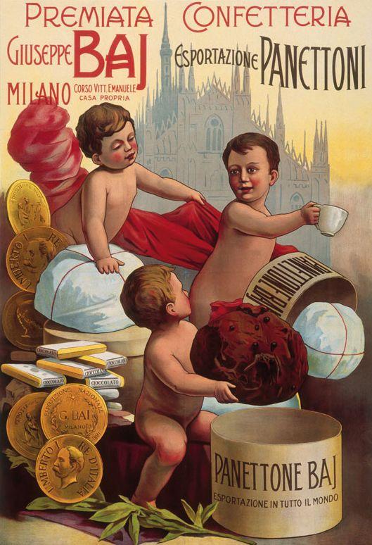 Antiche pubblicità del Panettone Baj e della Confetteria Baj