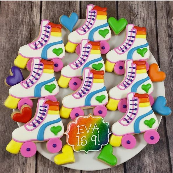 "Whoo's Bakery? on Instagram: ""Rollin into this week with these fun rainbow roller skate cookies! #rainbowcookies #tollerskatecookies #rollerskateparty #rollerskatepartyfavors #rainbowpartycookies"""