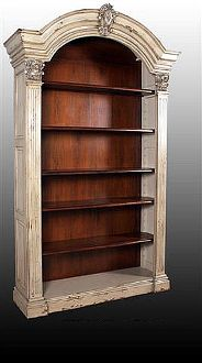 English Manor Antique Bookcase White Washed Mahogany