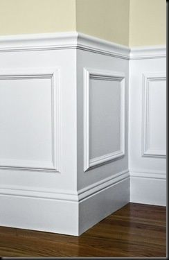 You are KIDDING me!! Easy wainscotting idea: buy frames from Michaels, glue to wall and paint over entire lower half.