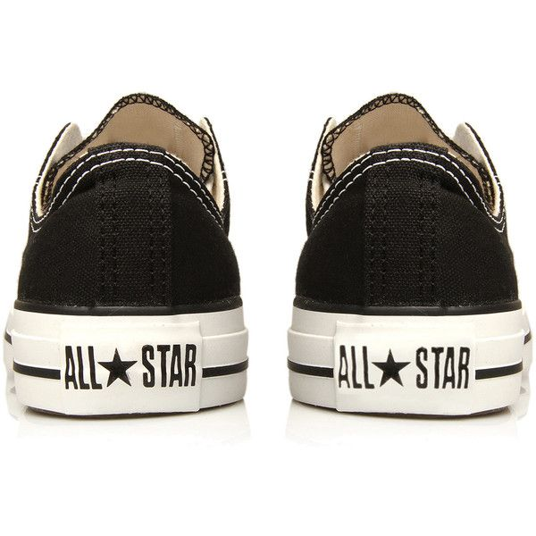 Converse Black Chuck Taylor All Star Low Trainers ($69) ❤ liked on Polyvore featuring shoes, sneakers, converse, chaussures, lace up shoes, lace up sneakers, star sneakers, black lace up shoes and canvas lace up sneakers
