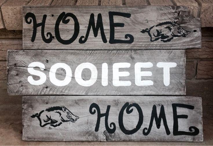 Wood sign Arkansas Razorback football Home sooieet (sweet) Home