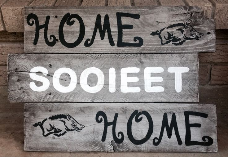Wood sign Arkansas Razorback football Home sooieet (sweet) Home