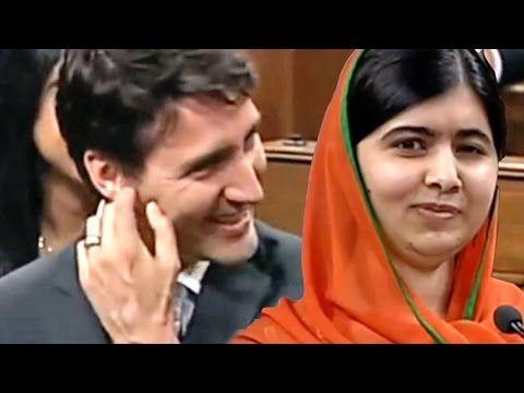 Malala Yousafzai Flatters Justin Trudeau During Canadian Parliament Speech - YouTube