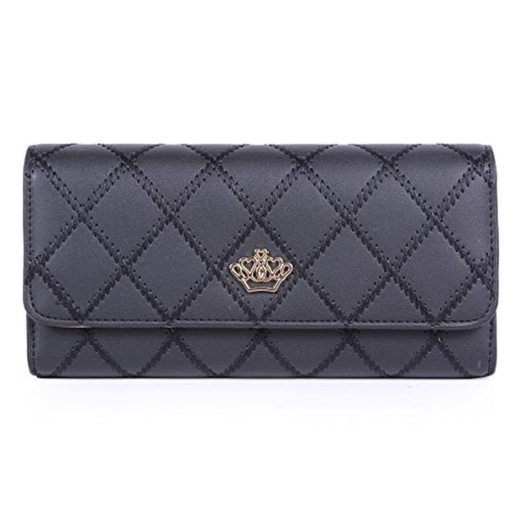 Damara Quilting Style Classic Trifold Wallet Crown Adorn Clutch Bag