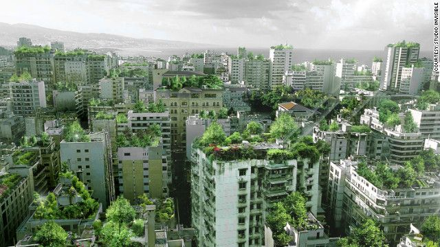 A rooftop forest in Beirut? Lebanese architect Wassim Melki has proposed covering the city's rooftops with trees to tackle green space shortages. Story by @George_Web, for CNN. Image courtesy: Studio Invisible.