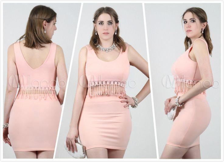 Mini Top In stile reggiseno rosa elastico femminile bohemien con frangia.