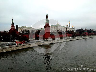Old Moscow, the view of the Moscow Kremlin from the bridge across the Moscow River