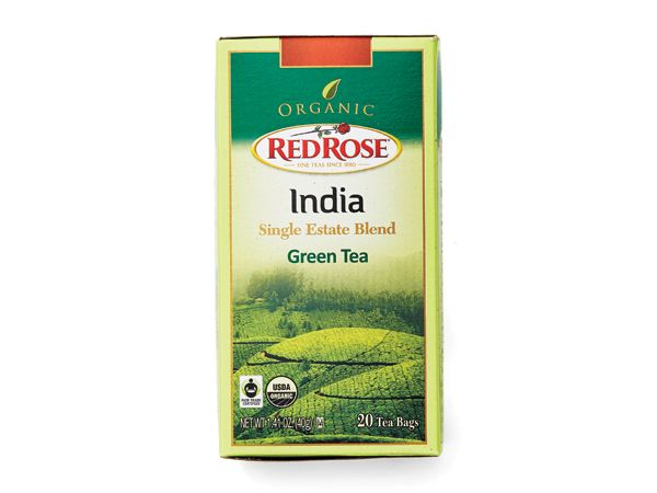 Red Rose Organic Green Tea http://www.prevention.com/food/healthy-eating-tips/100-cleanest-packaged-food-awards-2014-beverages/slide/16
