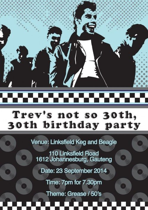 Grease birthday party invitation design by Very Cherry Design Studio