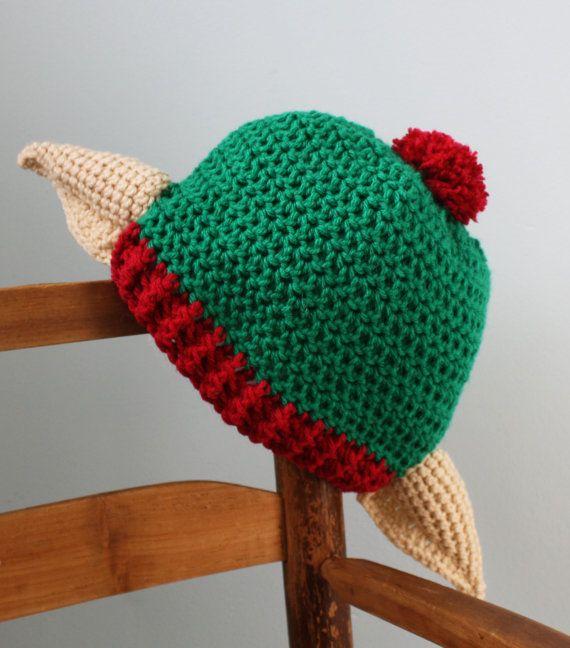 Elf Beanie Knitting Pattern : Christmas Elf Hat, Holiday Hat, Crochet Beanie, Elf Ear ...