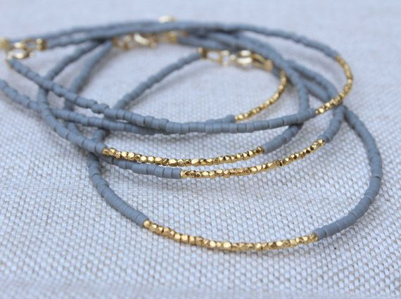 Gold Beaded Bracelet - Grey and Gold Bracelet - Fall Colours Bracelet - Gold Filled Bracelet - Gold Vermeil Bracelet - Charcoal Bracelet on Etsy, $17.00