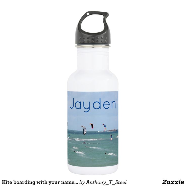 Kite boarding with your name personalised water bottle A handy drinks bottle, personalised with your name, on a photo of a kite boarding race taken in St Malo, France.
