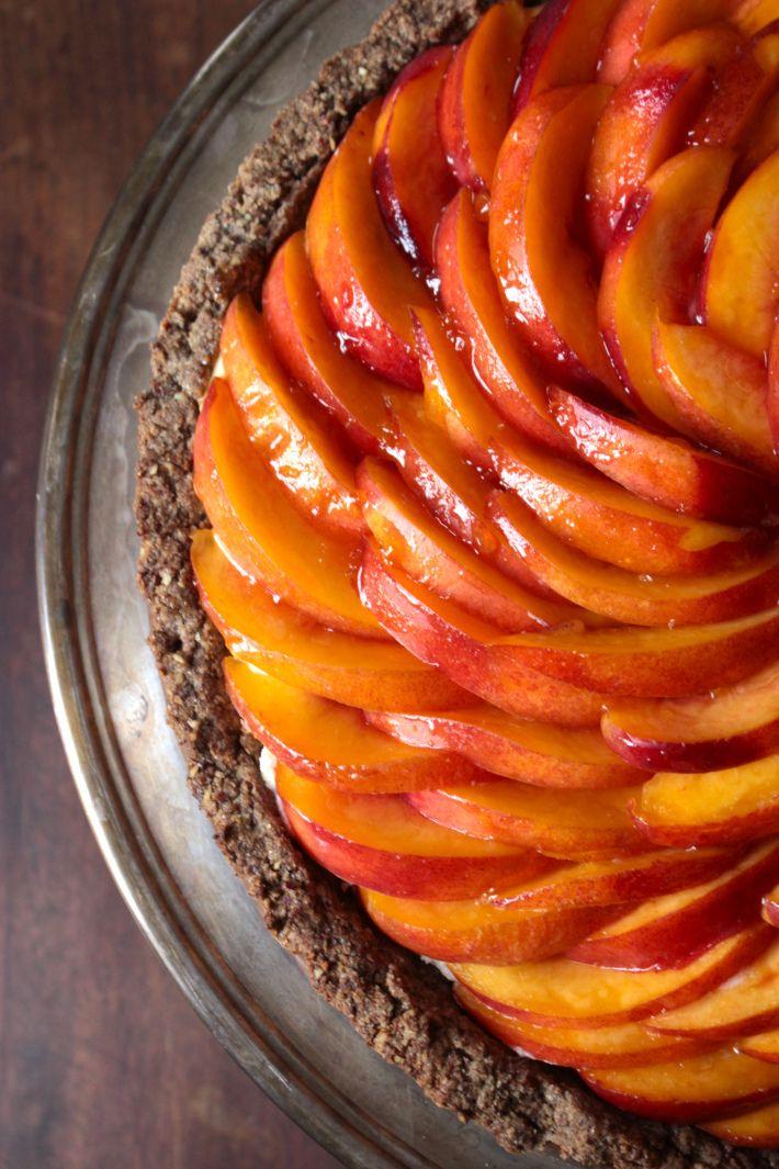 Fresh Nectarine Tart with a Hazelnut Buckwheat Crust and Rose Glaze ...