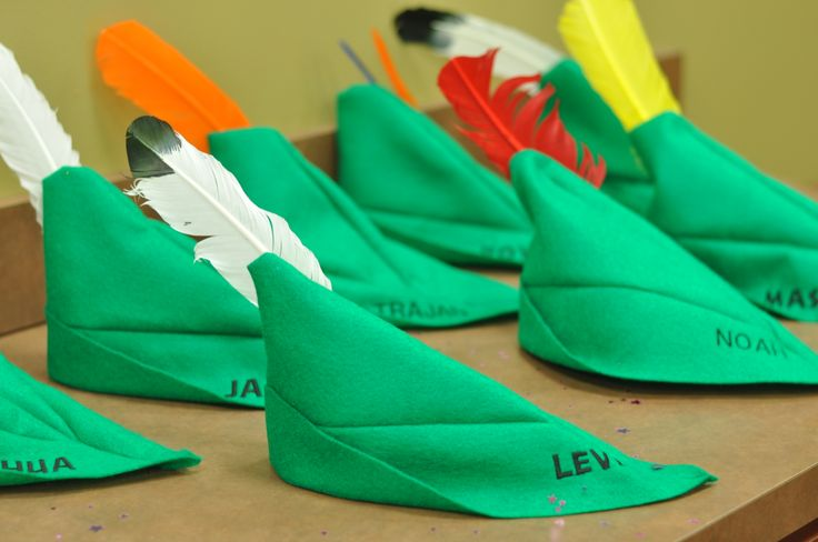 Fairy Party Favors for Boys! We did peter pan hats with each of the boy attendee's names on them! They are made from felt pattern is available free online!