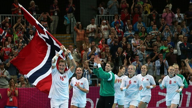 Katrine Lunde Haraldsen #16 of Norway celebrates with her team mates after winning the gold medal against Montenegro in the Women's Handball Final Match