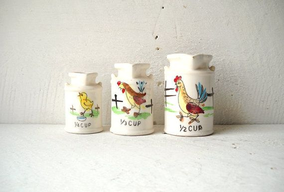 3 Ceramic Milk Can Measuring Cups Farm by MomsantiquesNthings, $12.00