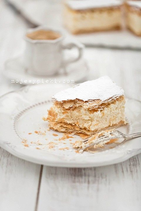 Vanilla Cream Puff Pastry Cakes. Two layers of puff pastry with butter and a vanilla cream in between the two layers.