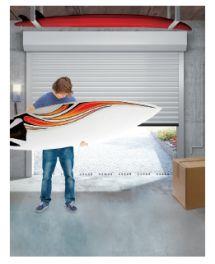 Porte de garage enroulable vue de l'intérieur : encombrement réduit
