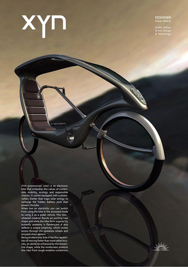 XYN Bike is a futuristic design concept for an eco-friendly ebike #bike, # e-bike, #design, #solar by designer Ishann Bharat. #future