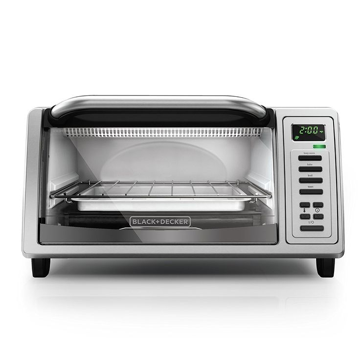 BLACK DECKER TO1380SS 4-Slice Digital Toaster Oven, Includes Bake Pan, Broil Rack and Toasting Rack, Stainless Steel Digital Toaster Oven * You can get more details here : Pizza Pans and Stones